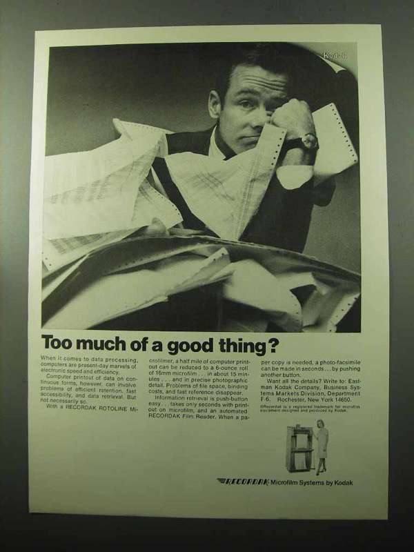 Primary image for 1969 Kodak Recordak Microfilm Systems Ad - Good Thing