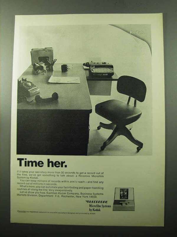 Primary image for 1969 Kodak Recordak Microfilm Systems Ad - Time Her