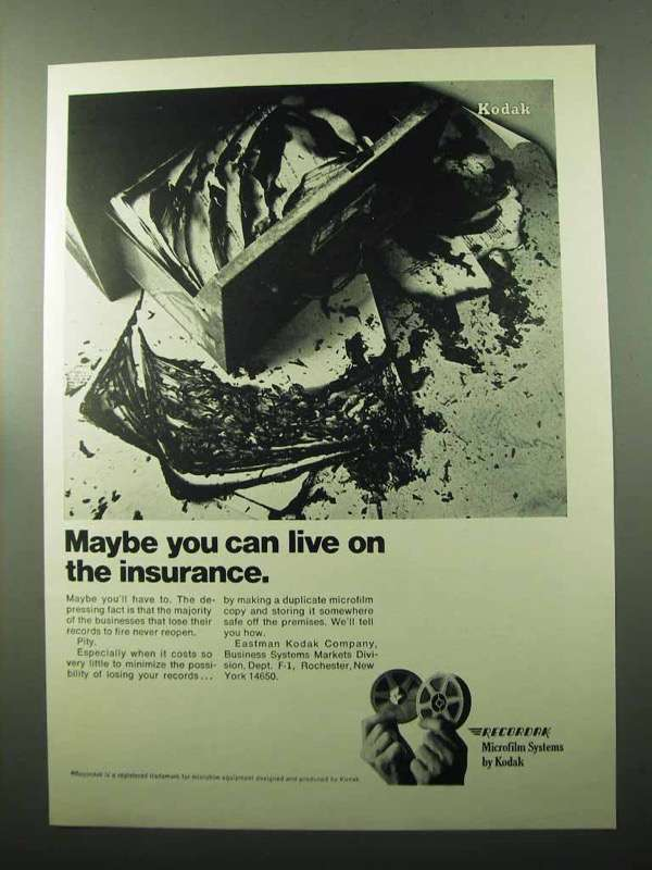 Primary image for 1969 Kodak Recordak Microfilm Systems Ad - Insurance