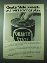 1975 Quaker State Motor Oil Ad - Driver's Savings Plan - $14.99