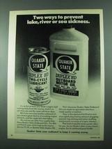 1975 Quaker State Duplex HD Oil Ad - Prevent Sickness - $14.99