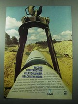 1969 Columbia Gas System Ad - Record Construction - $14.99