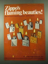 1969 Zippo Cigarette Lighters Ad - Flaming Beauties - $14.99