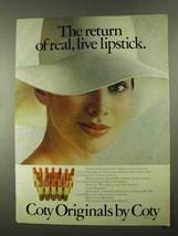 1974 Coty Originals Lipstick Ad - The Return Of - $14.99