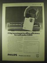 1974 Philips 96 & 95 Memo de Luxe Dictation Machine Ad - $14.99