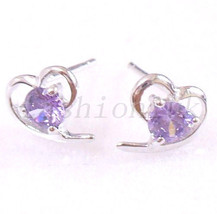 Amethyst Stud Earrings Simulated Diamonds 925 Hallmark Sterling Silver H... - $17.64