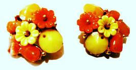 Bellini Vintage Jewelry Cluster Clip on Earrings Yellow Orange Golden - $35.00