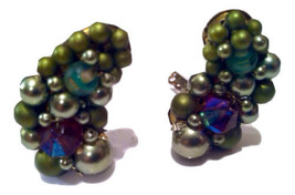 Whimsical Cluster Clip on Earrings Vintage Jewelry made in Japan - $30.00