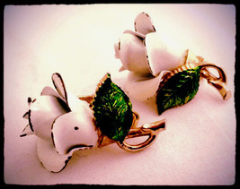 Bergere Vintage Floral Jewelry Whimsical White Enameled Flower Clip on Earrings - $35.00