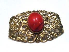 Western Germany Vintage Jewelry Red Golden Filigree Brooch Pin - $40.00