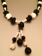 Old Black and White faceted plastic beads Pendant Necklace Authentic Tru... - $10.00