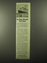 1922 White Star Line Ad - In One Great Service - $14.99