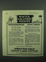 1922 White Star Line Ad - Winter Vacation Voyages - $14.99