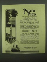 1923 Porto Rico Line Ad - Delightful Cruise Tropic Seas - $14.99