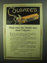 1921 Colgate's Toothpaste Ad - Read What Dentist Says - $14.99