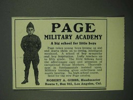 1922 Page Military Academy Ad - Big School Little Boys - $14.99