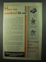 1931 Addressograph Company Ad - Considered This Way - $14.99