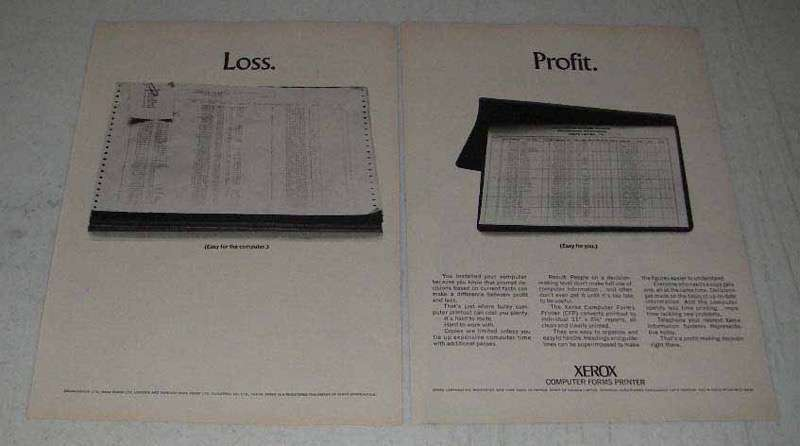 1969 Xerox Ad - Computer Forms Printer CFP