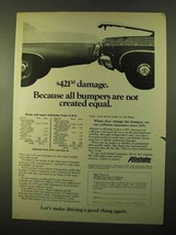 1970 Allstate Insurance Ad - Bumpers Not Equal - $14.99