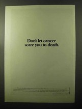 1970 American Cancer Society Ad - Scare You to Death - $14.99