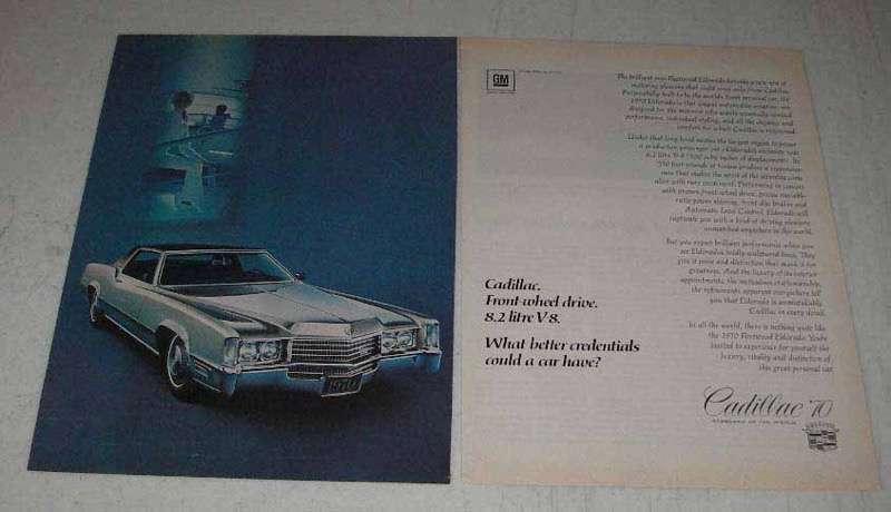 1970 Cadillac Eldorado Car Ad - Front Wheel Drive - $14.99