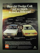 1976 Dodge Colt Carousel and Colt GT Car Ad - $14.99