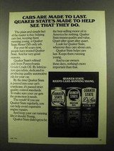 1976 Quaker State Motor Oil Ad - Made To Help - $14.99