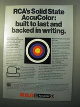 1970 RCA Solid State AccuColor Ad - Built to Last - $14.99