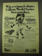 1971 Gillette Razors Ad - World Series Sweepstakes - $14.99