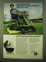 1971 John Deere Riding Mower Ad - Give it An Hour - $14.99