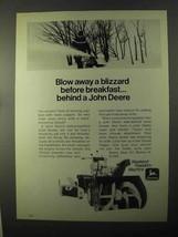 1971 John Deere Snow Blower Ad - Blow Away a Blizzard - $14.99