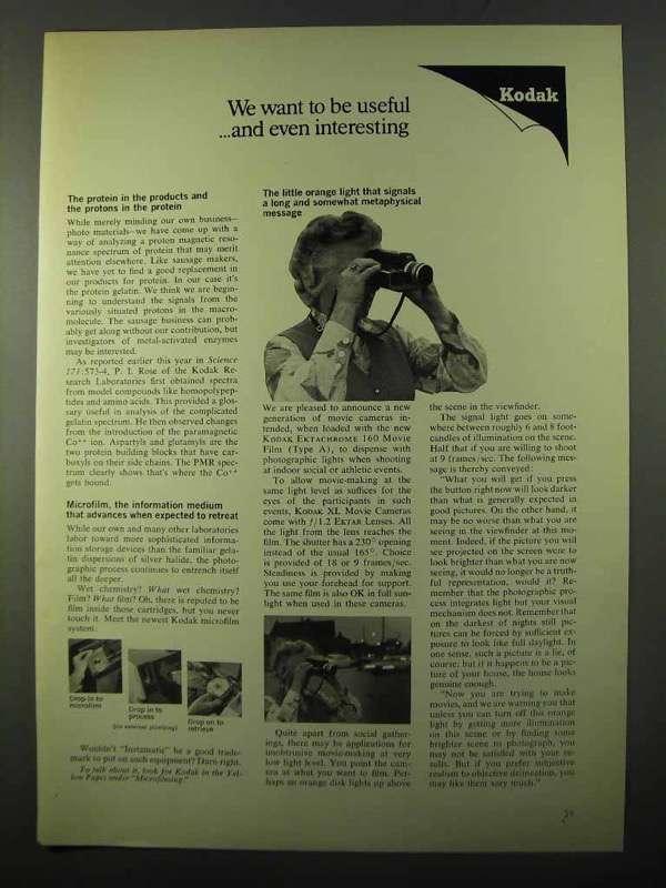 1971 Kodak Ad - Microfilm, Ektachrome 160 and 50 similar items