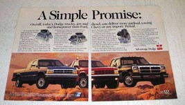 1991 Dodge Truck Ad - Dakota Sport; Ram Club Cab  - $14.99