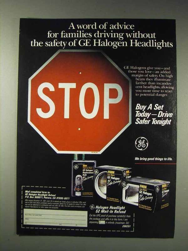 1991 GE Halogen Headlights Ad - A Word of Advice
