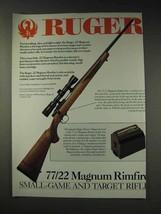 1991 Ruger 77/22 Magnum Rimfire Rifle Ad - $14.99