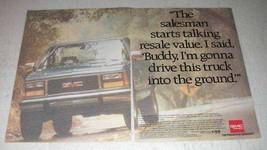 1993 GMC Sierra Pickup Truck Ad - Talking Resale Value - $14.99