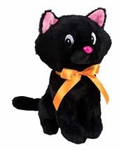 Blue Panda Cat Plush Toy - Large Black Kitty Stuffed Animal with Ribbon, - $17.08