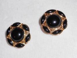 Preppy earrings by Trifari clip on earrings vintage 1980s black on gold ... - $14.00