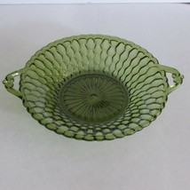 VINTAGE INDIANA GLASS GREEN HANDLED RELISH DISH TAB HANDLES SHALLOW BOWL... - $9.03