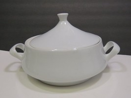 Mid Century Modern White Covered Handled Casserole Serving Bowl - $23.76