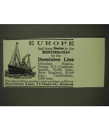 1903 Dominion Line Ad - Europe - $14.99