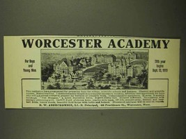1911 Worcester Academy Ad - For Boys and Young Men - $14.99