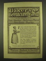 1912 Baker's Breakfast Cocoa Ad - Absolute Purity - $14.99