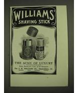 1903 Williams' Shaving Stick Ad - Acme of Luxury - $14.99