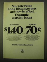 1971 Bell Long Distance Ad - Interstate Rates In Effect - $14.99