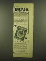 1908 Curtice Brothers Blue Label White Cherries Ad - $14.99