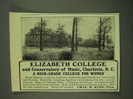 1908 Elizabeth College and Conservatory of Music Ad - $14.99