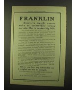 1908 Franklin Model H Touring Car Ad - Excessive Weight - $14.99