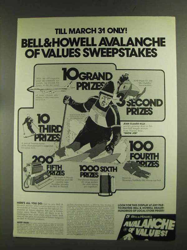 1972 Bell & Howell Products Ad - Avalanche of Values - $14.99
