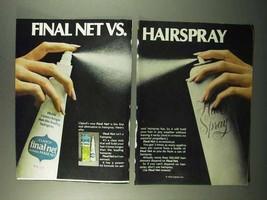 1972 Clairol Final Net Hair Spray Ad - Vs. Hairspray - $14.99